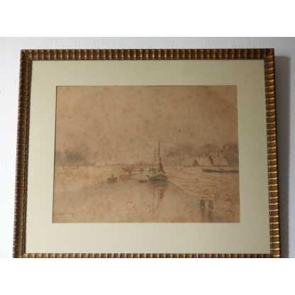 Aquarelle Péniche Sur Canal Enneigé, Ivan Ivanovitch Kowalski, 1904
