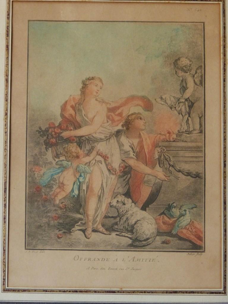 Gravure XVIII ème, Offrande à l'Amitié, d'Après Huet, Gravé Par Jubier
