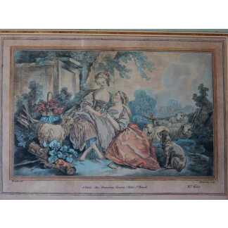 Gravure XVIII ème, La Missive, d'Après François Boucher, Gravé Par Demarteau