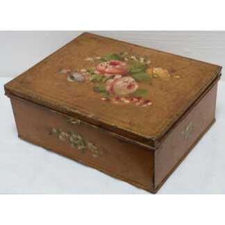 Boîte En Tôle Peinte Aux Fleurs, époque Napoléon III
