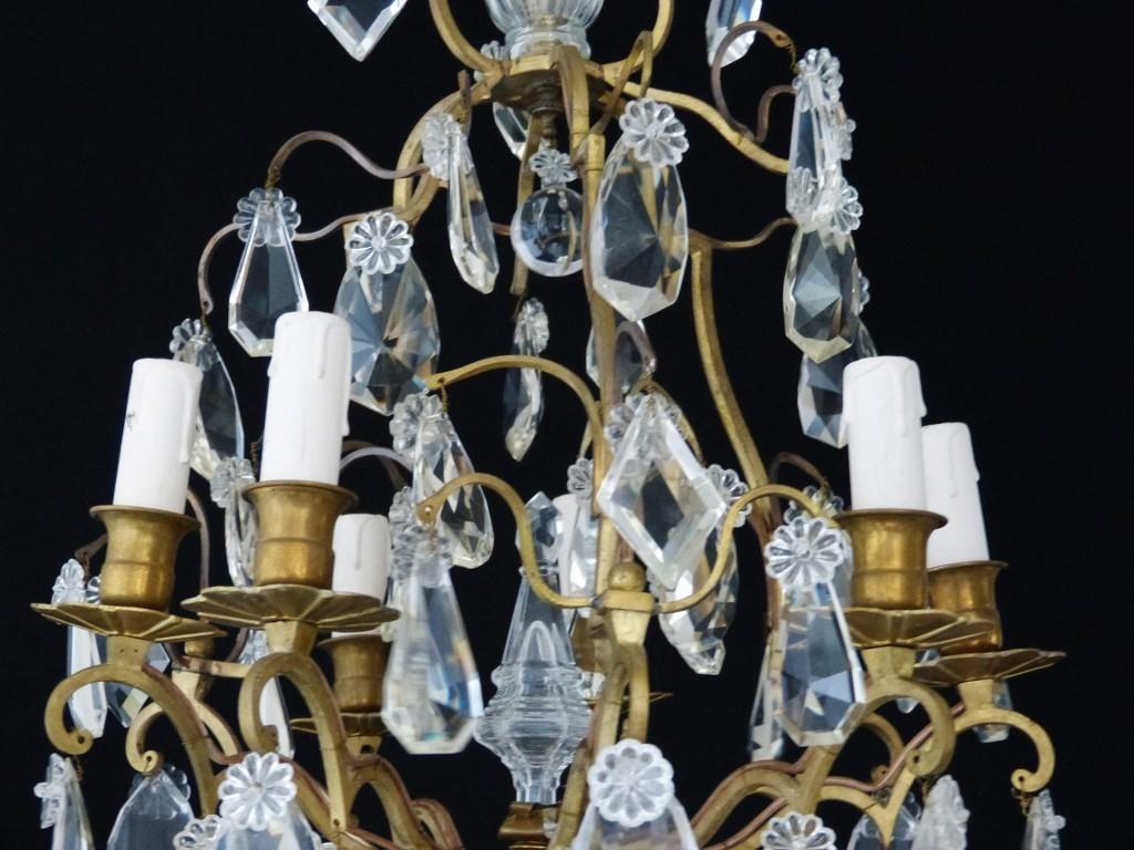Lustre Cage Bronze Doré Et Pampilles Cristal, Fin XIX ème, 6 Feux