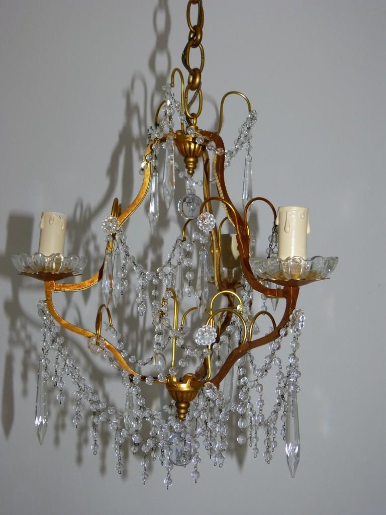 Lustre En Bronze Et Pampilles Et Perles De Verre, Début XX ème
