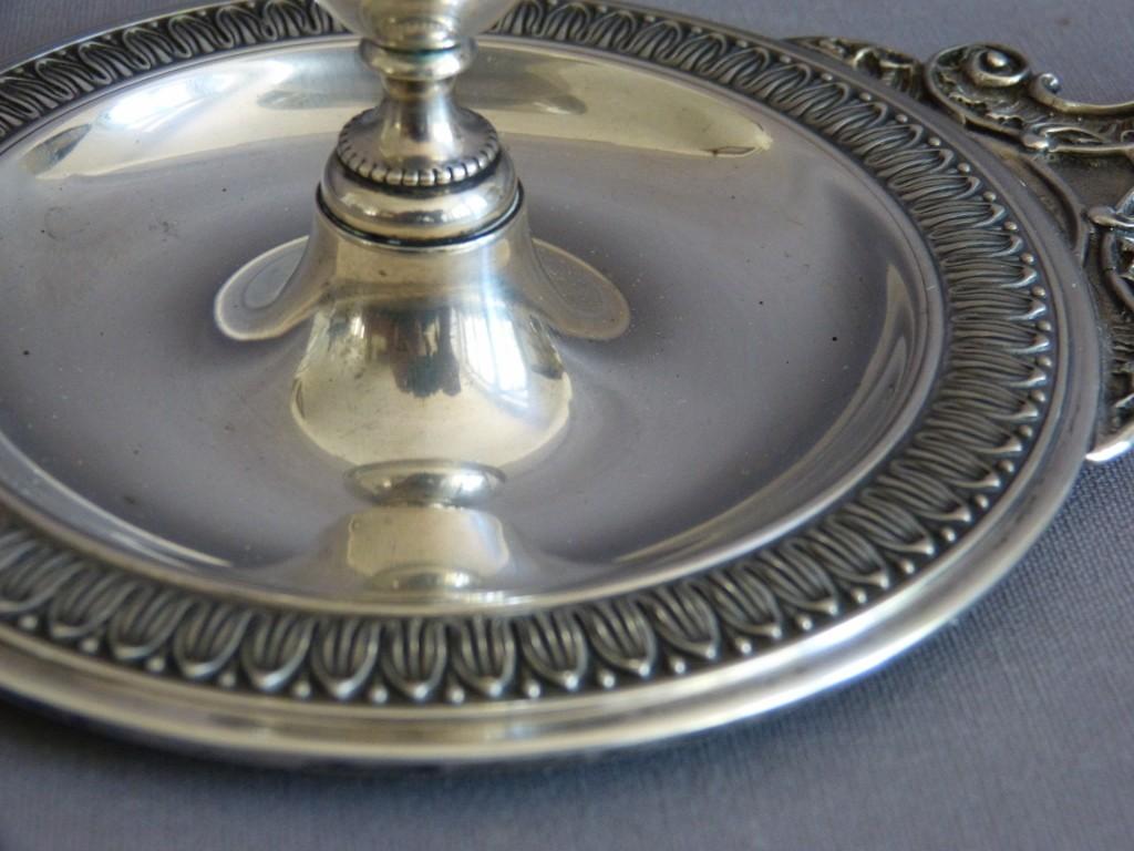 Bougeoir à Main En Argent Massif, Style Napoléon III, Début XX ème