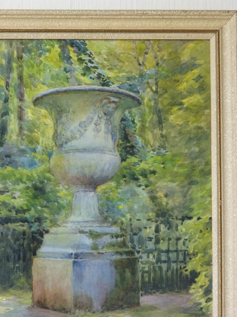 Aquarelle, Vase Médicis Dans Un Jardin, Signé Pallandec