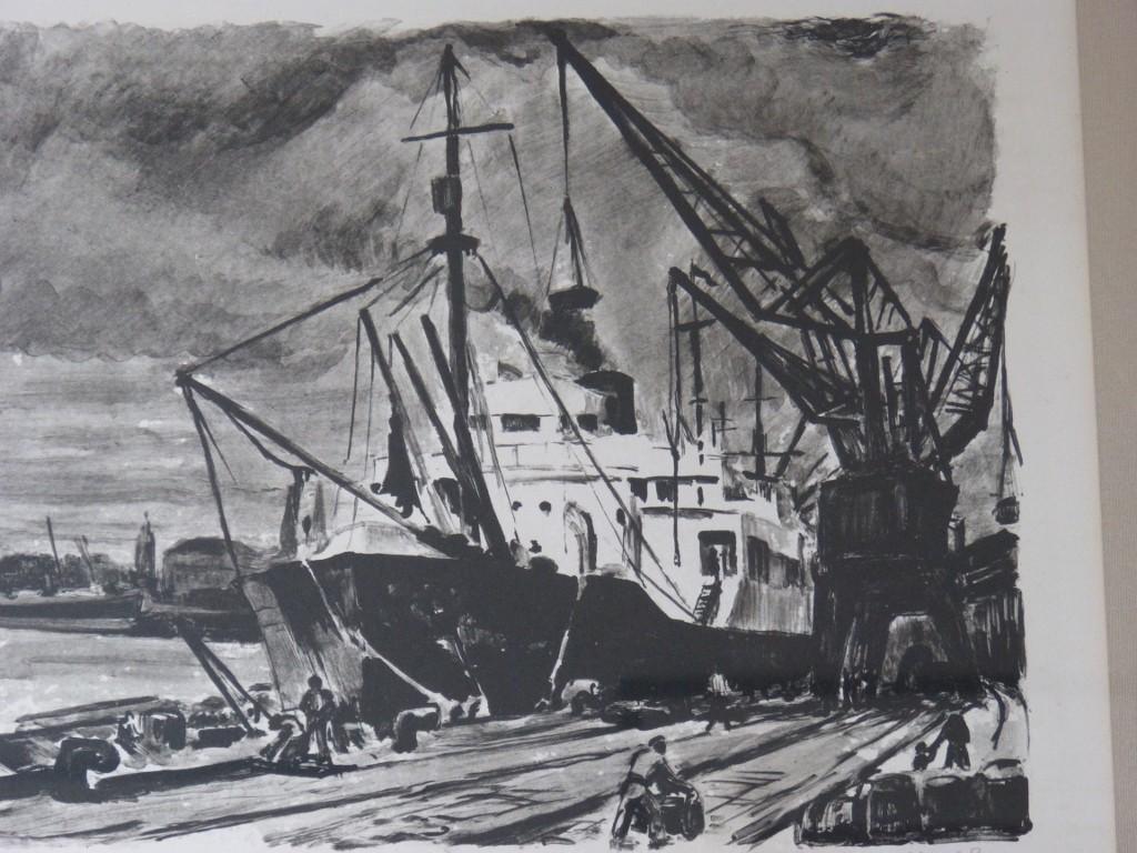 Lithographie, Le Port, Bateau Au Déchargement Sur Le Quai, Signée