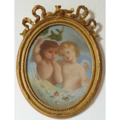 Pastel XIX ème, Deux Angelots Signé Cécile Boisard, 1863, Cadre Louis XVI