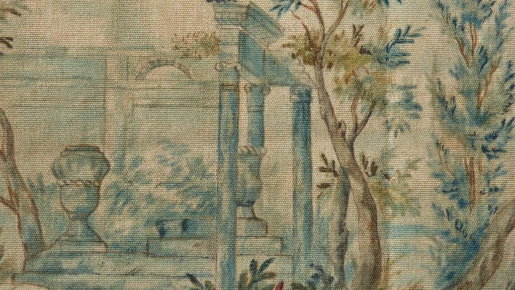 Toile Peinte, Ruines Et Verdure, Dans Le Goût Du XVIII ème, Signé Rimat