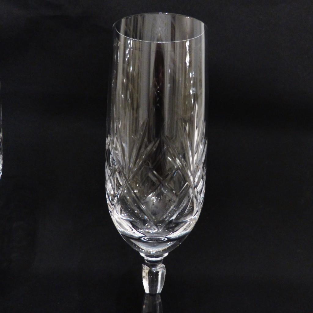 6 Flûtes à Champagne En Cristal Taillé, Cristallerie Des Vosges
