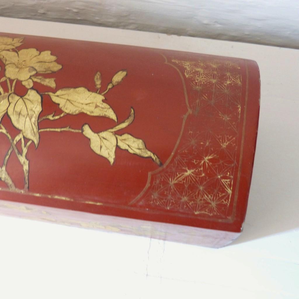 Grand Coffret Chinois Laqué Rouge Et Or Aux Oiseaux, XIX ème