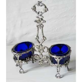 Double Salerons Aux Feuilles De Vigne, Métal Argenté Et Verre Bleu, XIX ème