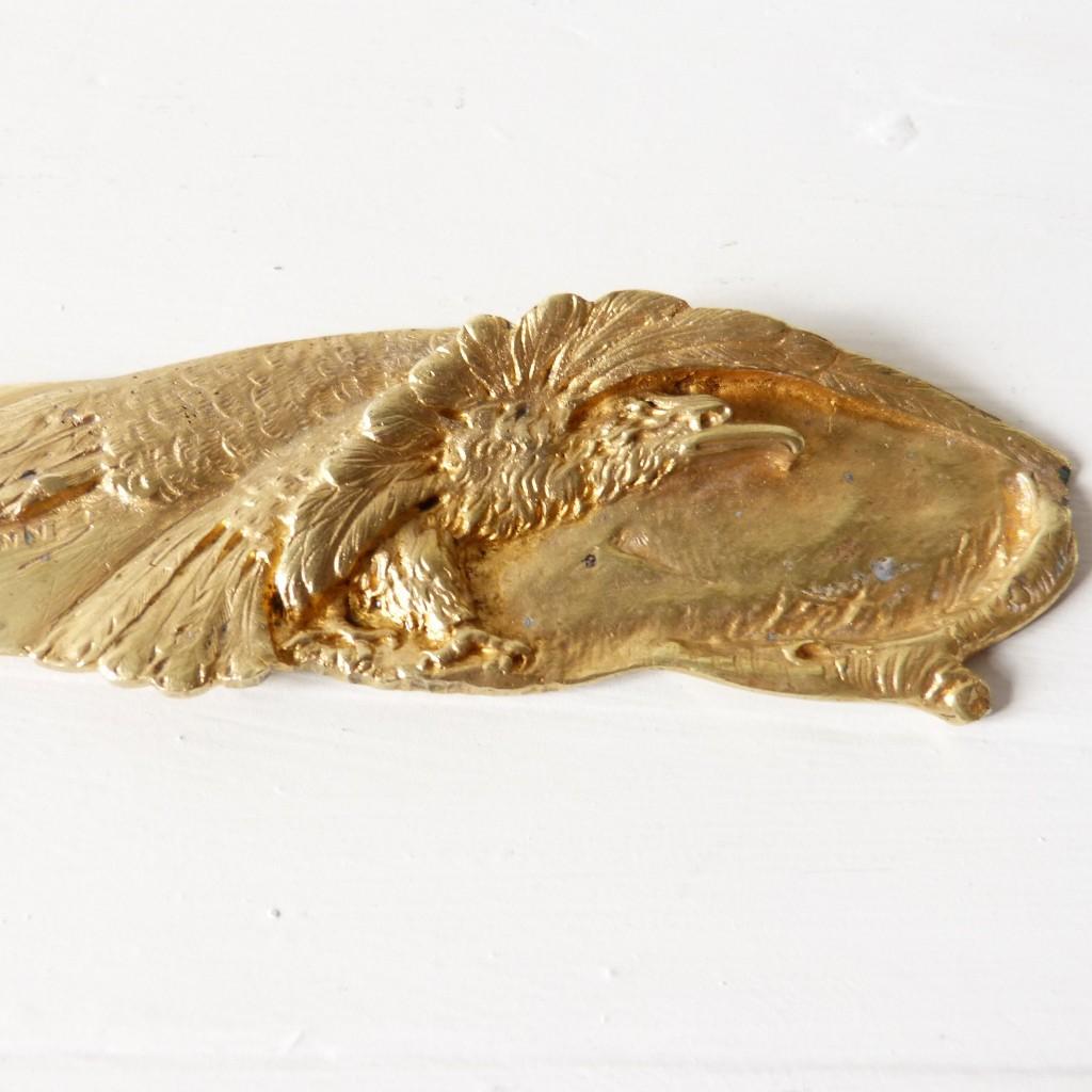 Coupe Papier, Ouvre Lettres En Bronze Doré à l'Aigle, Signé A. Marionnet