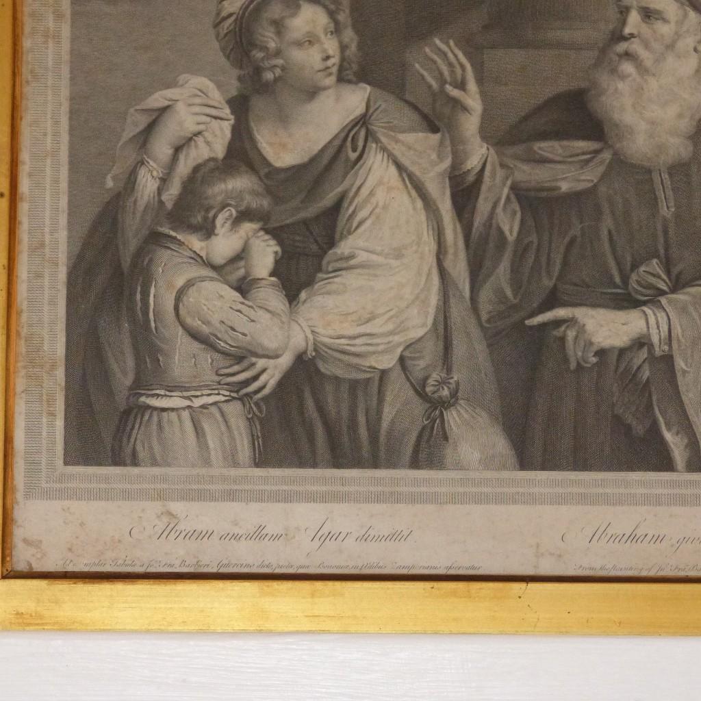 Gravure XVIII ème, Abraham Giving Up The Hand Maid Hagar, Datée 1767