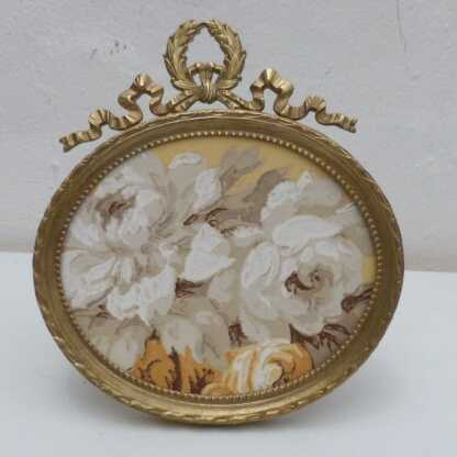 Cadre Photo Ovale, Style Louis XVI, Bronze Et Laiton, XIX ème