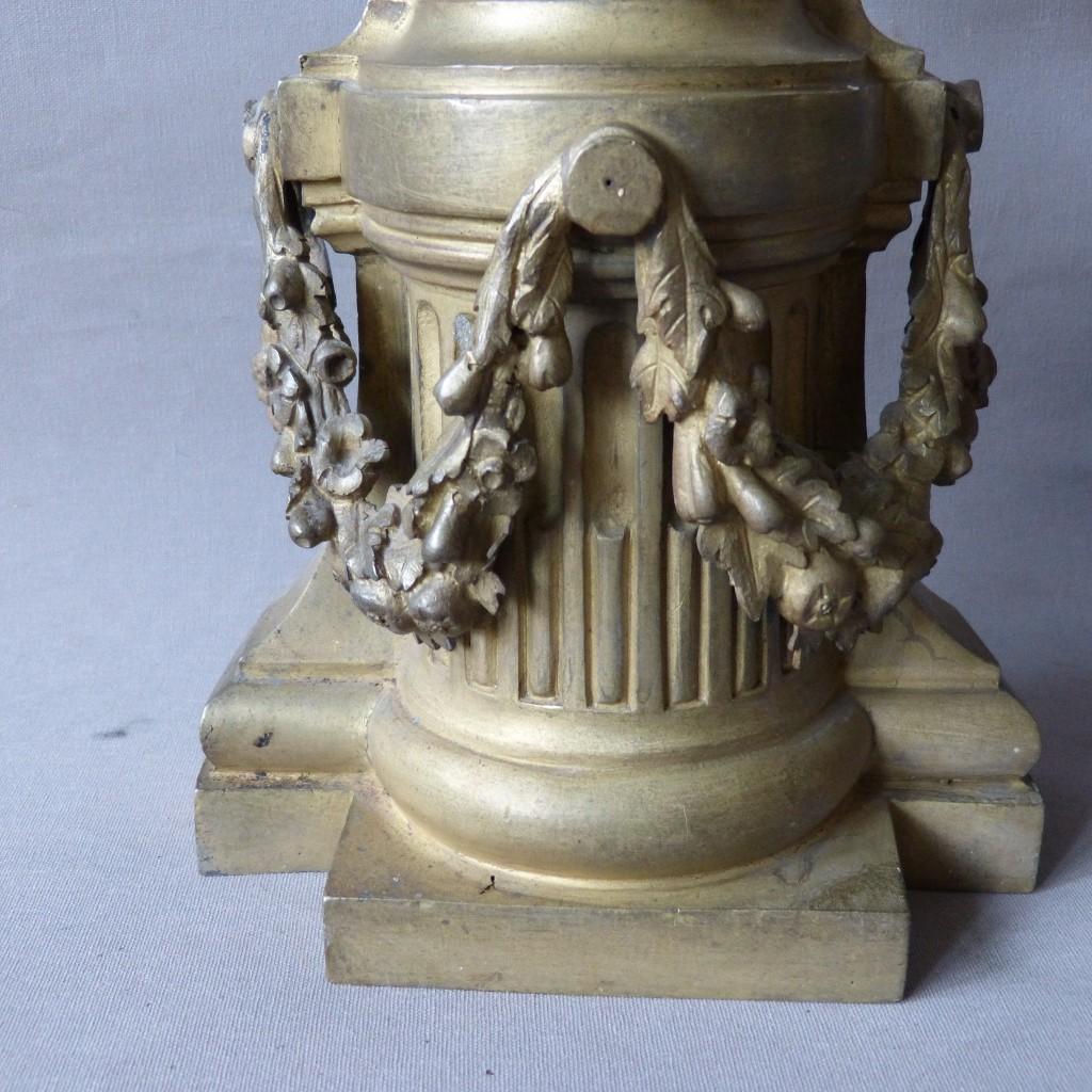 Paire de Cassolettes, d'Ornements Décoratifs Louis XVI En Bronze Doré, Dionysos, époque XVIII ème