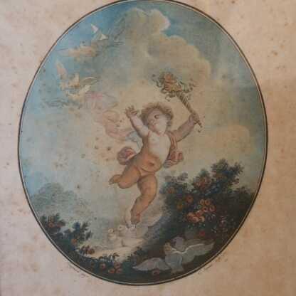 Gravure XVIII ème, La Folie Par Janinet, d'Après Fragonard, Ange, Angelot, Datée 1777