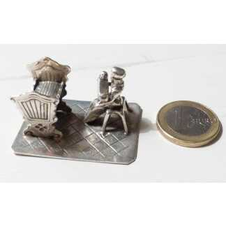 Sculpture Miniature En Argent Massif, Enfant, Berceau, Nourrice, Cadeau Naissance