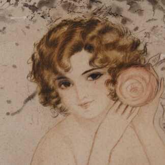 Gravure époque 1925, élégante femme au camélia, rose dans le goût de Louis IcartGravure époque 1925, élégante au camélia