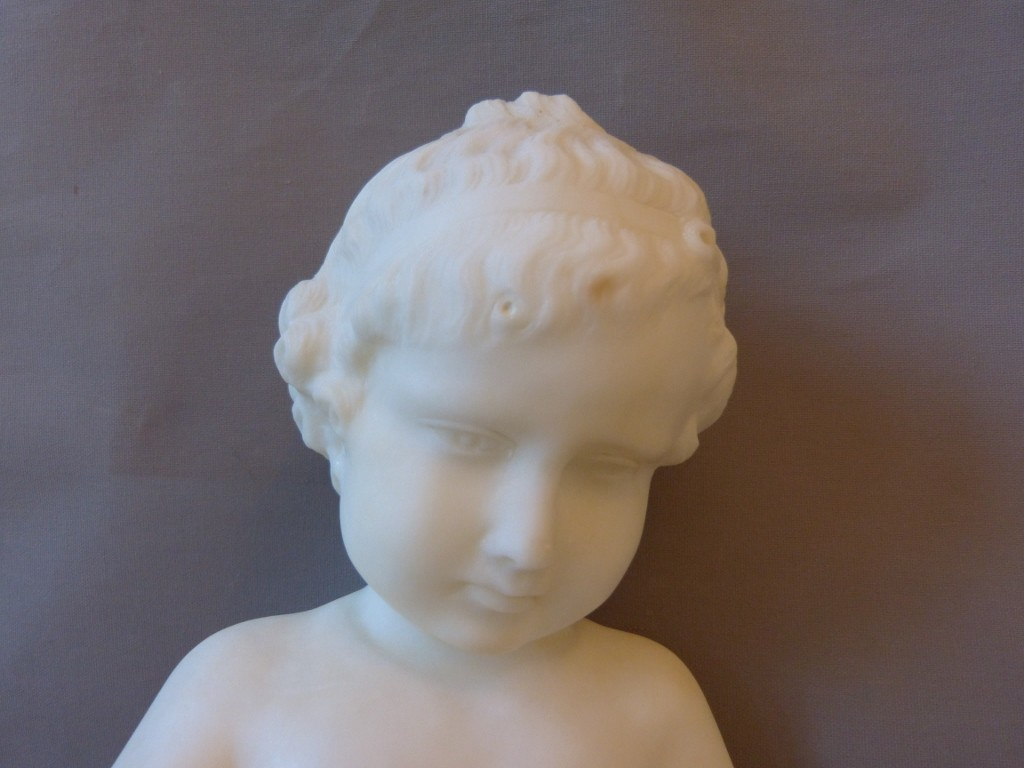 Sculpture En Marbre, Enfant Lisant d Après Charles Gabriel Lemire, Fin XIX ème