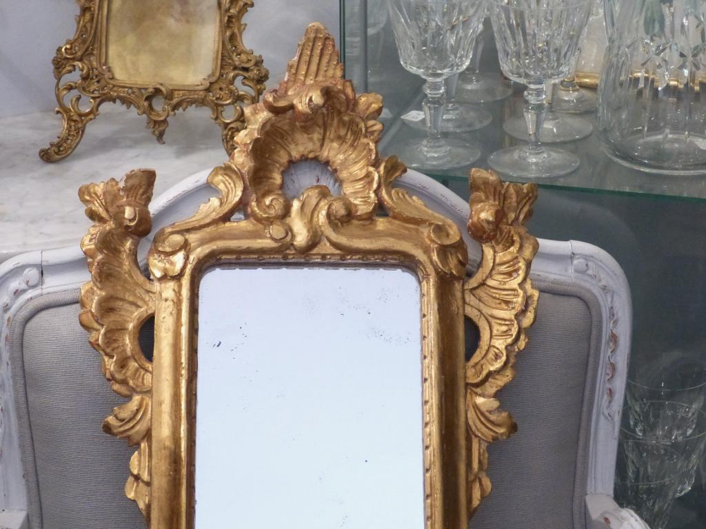 Miroir d Entre Deux En Bois Sculpté Et Doré, Fin XIX ème
