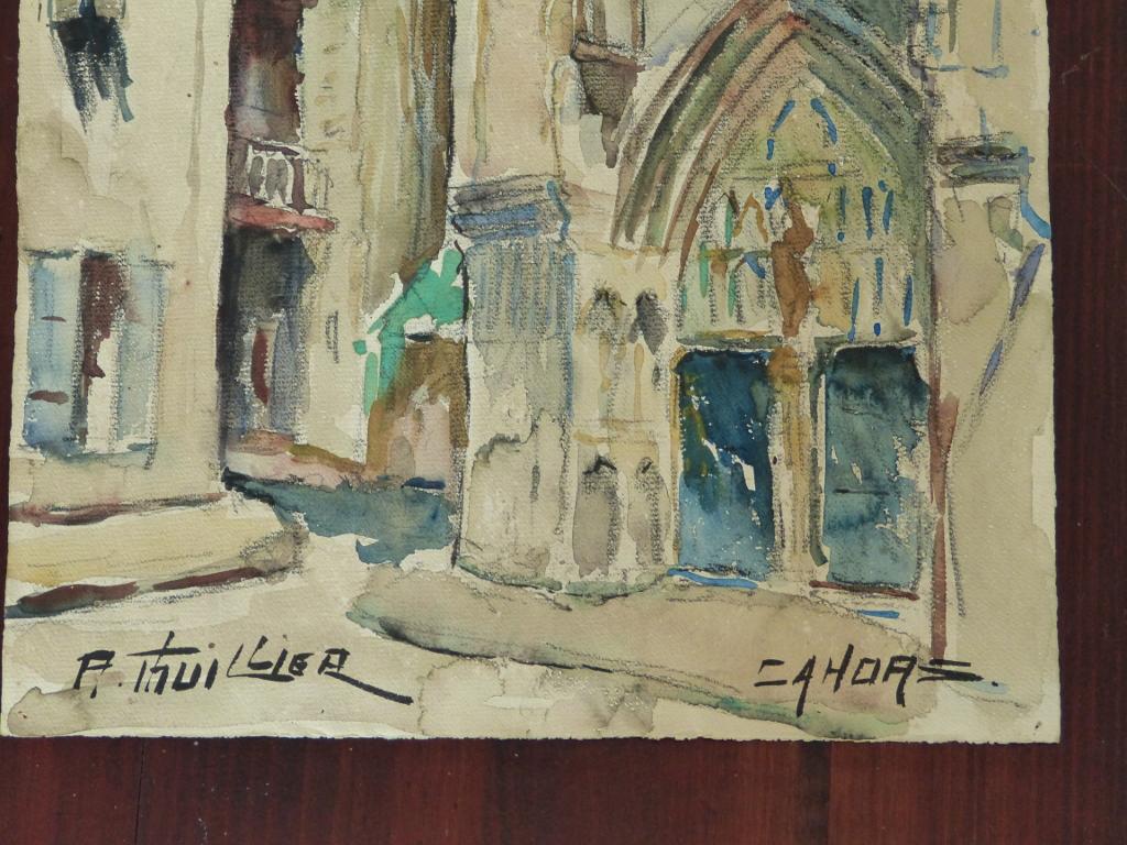 Eglise Saint Urcisse à Cahors, Aquarelle Signée Thuillier