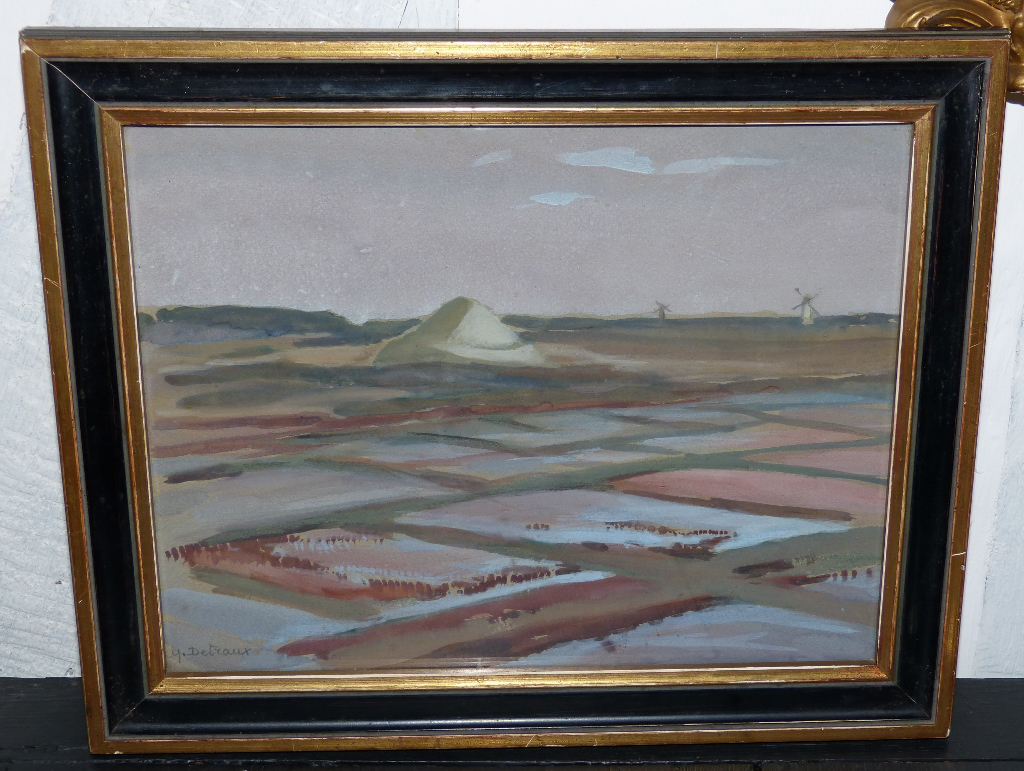 Ecole Du Morbihan, Aquarelle Marais Salans, Signée Yvonne Detraux, Début XX ème