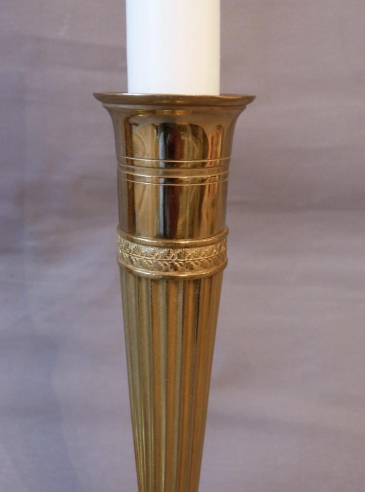 Paire De Bougeoirs En Bronze Doré époque Directoire, Fin XVIII ème