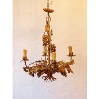 Lustre Aux Raisins, Fer Doré, 4 Feux, époque Vers 1960