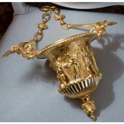 Suspension, Vasque Néoclassique En Bronze Doré, XIX ème