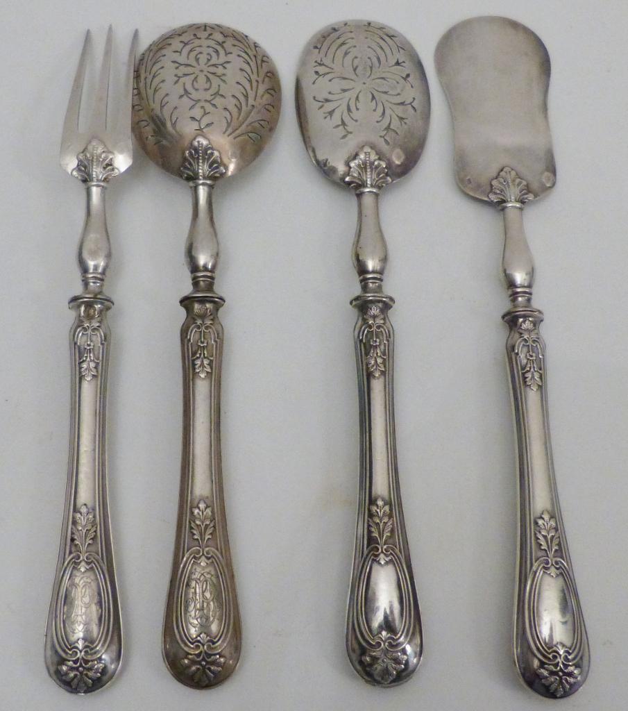 Couverts De Service à Mignardises En Argent Massif, Orfèvre Paul Surot, Vers 1886