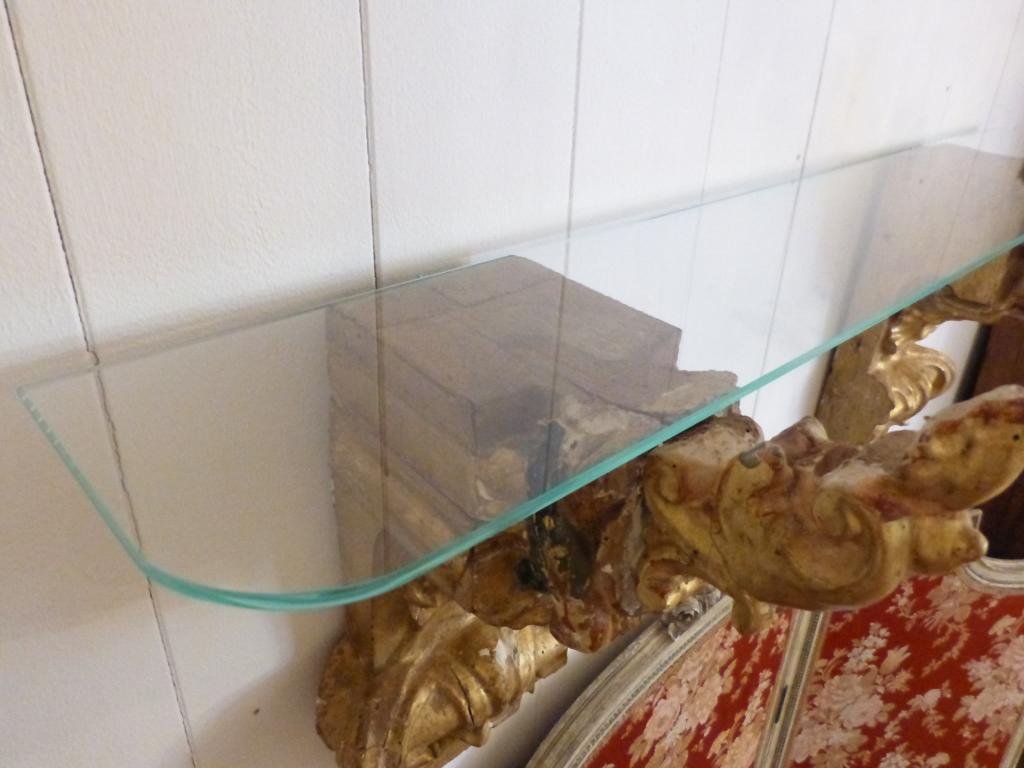 Console, étagère En Bois Sculpté Doré Et Polychrome XVIII ème Et Verre