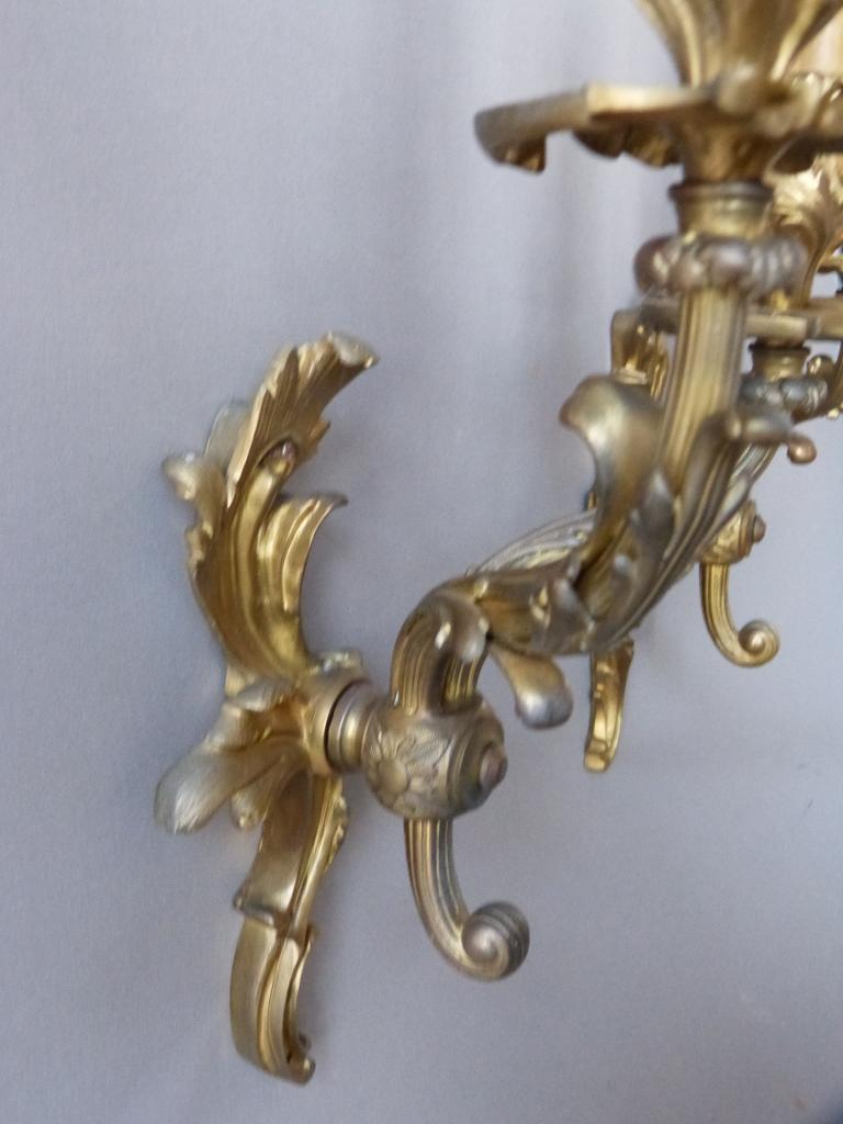 Paire d Appliques En Bronze Doré, Style Louis XV, époque XIX ème