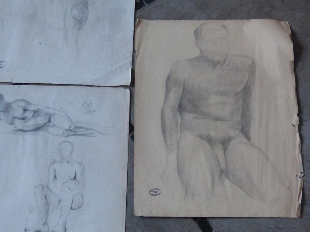 Lot De 4 Dessins d'études, Nus Masculins, Ateliers Jehan Berjonneau