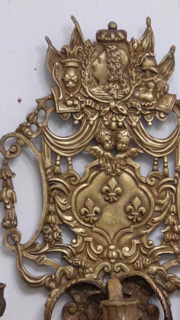 Paire d Appliques En Bronze, Style Louis XIV, Attributs Royaux, époque XIX ème