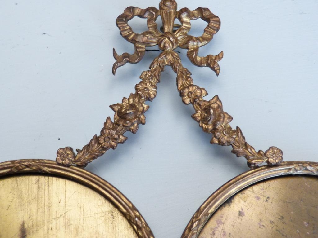 Double Cadre Photo Rond De Style Louis XVI En Bronze Et Laiton Doré