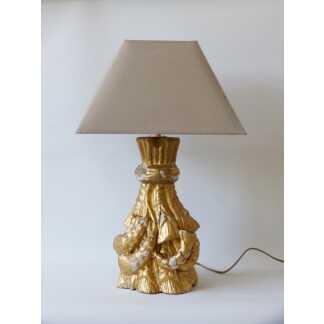Lampe XVIII ème En Bois Sculpté Et Doré à La Feuille