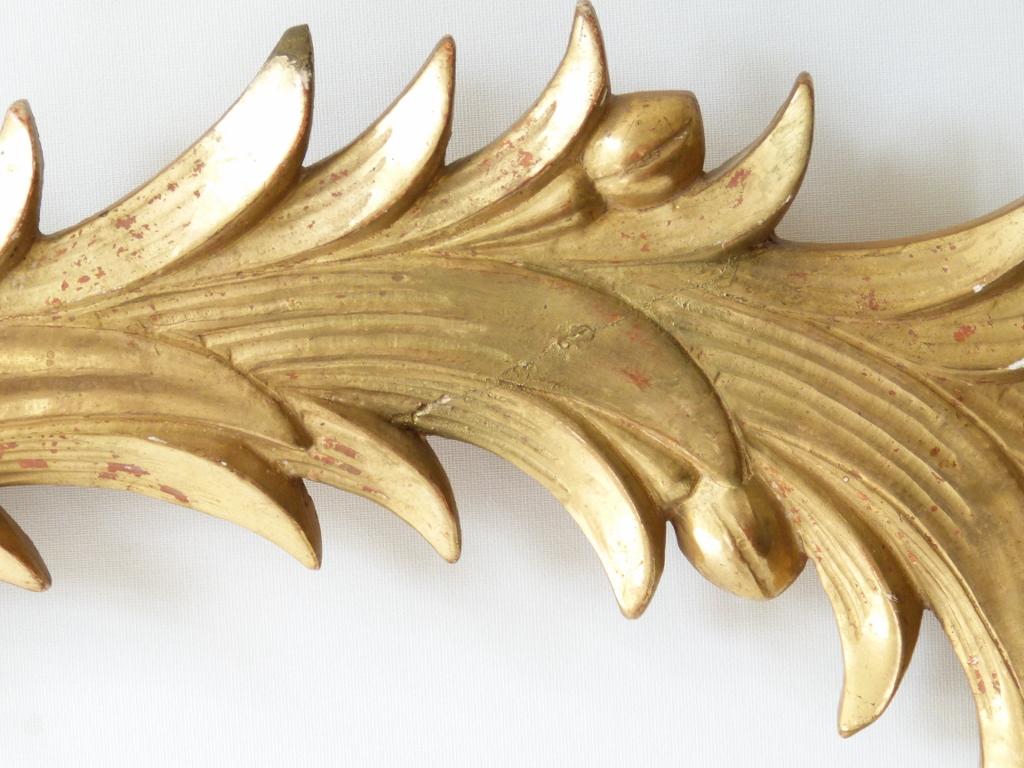 Palmette En Bois Sculpté Et Doré à La Feuille, époque XIX ème