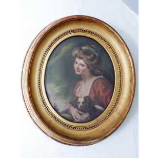 Portrait Au Pastel Une Jeune Femme Et Son Chien, Cadre Ovale En Bois Doré XIX ème