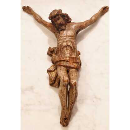 Christ En Bois Sculpté, Polychrome Et Dorure, époque XVII ème Siècle