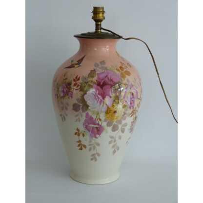 Lampe Vase En Porcelaine De Limoges, Fleurs Et Oiseau, Début XX ème