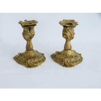 Paire De Bougeoirs, Bouts De Table De Style Louis XV Rocaille, époque XIX ème