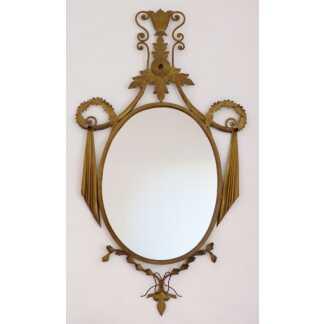 Miroir Ovale Victorien En Fer Et Tôle Doré, époque Vers 1940