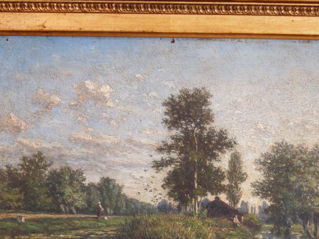 Jan Van Lokhorst, l Ile, Environs Utrecht, Huile Sur Bois Et Cadre Doré XIX ème