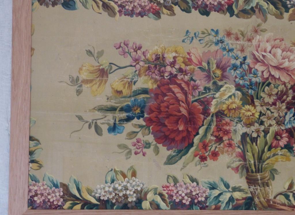 Bouquet De Fleurs Gouache, Carton d Aubusson, XIX ème