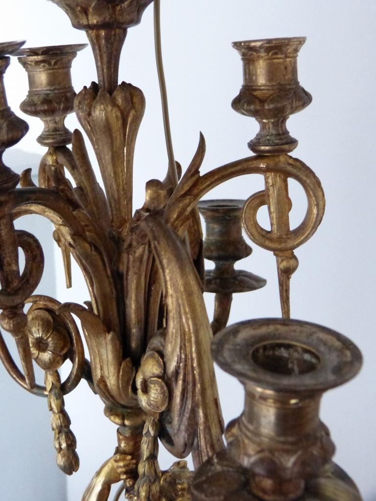 Grande Lampe Chandelier Au Putto En Bronze Doré, époque Napoléon III, XIX ème