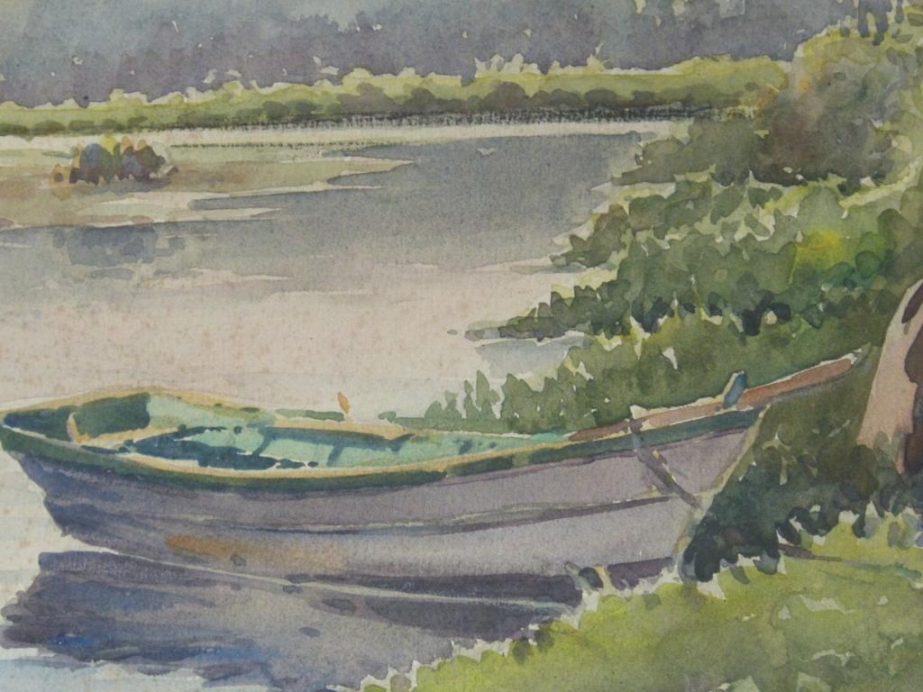Aquarelle, Paysage, Barque Et La Rivière, Cadre Montparnasse