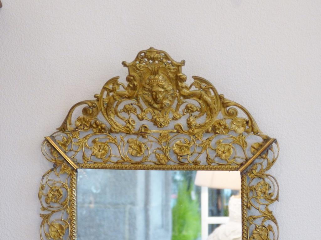 Miroir De Style Louis XIV En Bronze Doré, Décor De Fleurs, Mascarons Et Femmes, époque XIX ème
