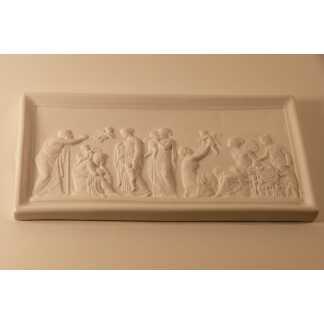 Scène à l Antique En Bas Relief Avec Angelots, Biscuit Porcelaine