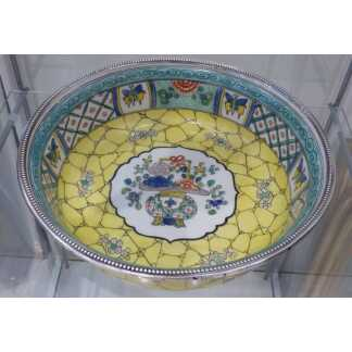 Jatte, Coupe à Fruits En Porcelaine Dans Le Goût Chinois, Cerclée Argent Massif