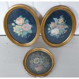 Lot De 3 Cadres Aquarelles De Fleurs, Roses, Tulipes... Signées A de Rose