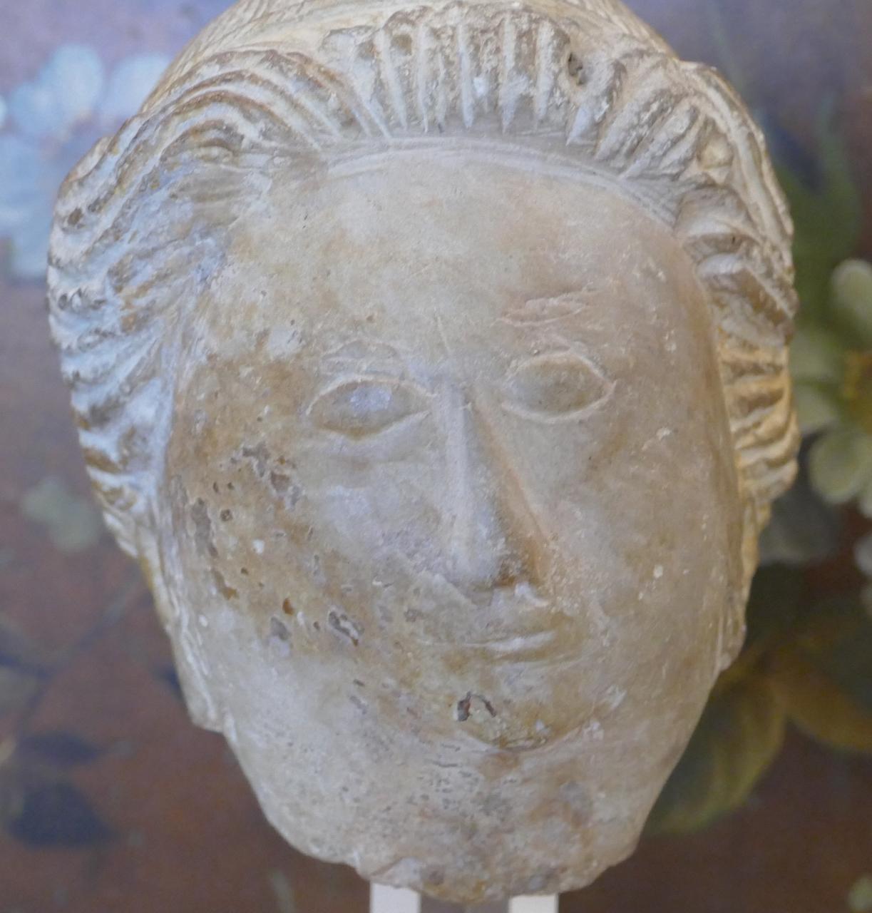 Tête En Calcaire Sculpté, école Ile De France, XIV Ou XV ème Siècle